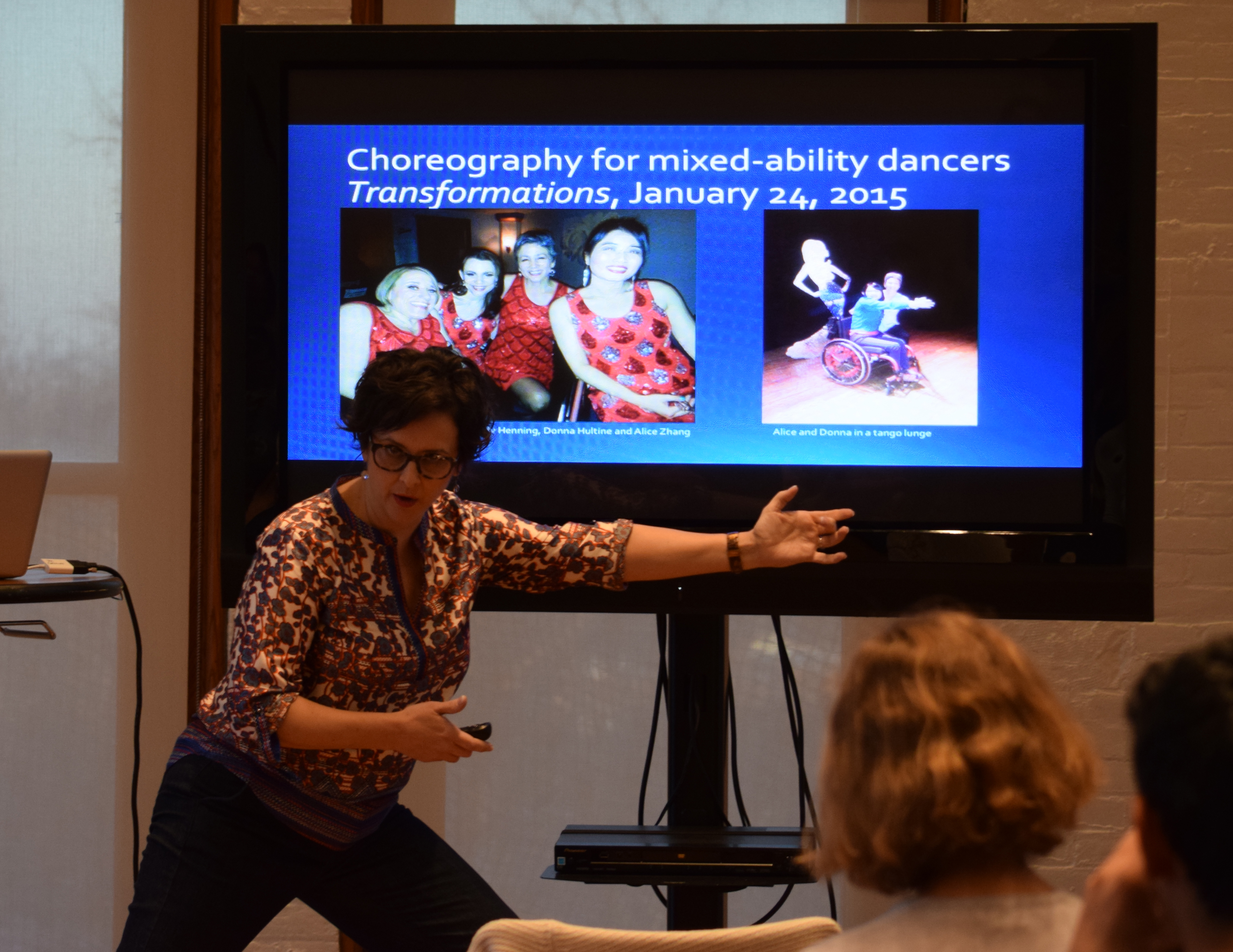 Michelle Heffner Hayes demonstrating choreography for mixed-ability dancers. KU Commons, December 10, 2016